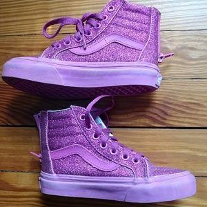 Little girl's sparkly pink Vans hightops